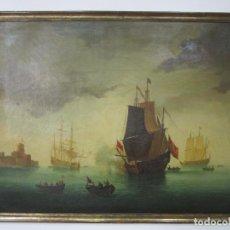 Arte: BONITA PINTURA AL ÓLEO SOBRE TELA - BARCOS, VELEROS - ESCUELA INGLESA . XVIII. Lote 204182778