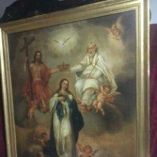 Arte: ESCUELA ESPAÑOLA SIGLO XVIII: VIRGEN INMACULADA Y SANTÍSIMA TRINIDAD. Lote 204194782