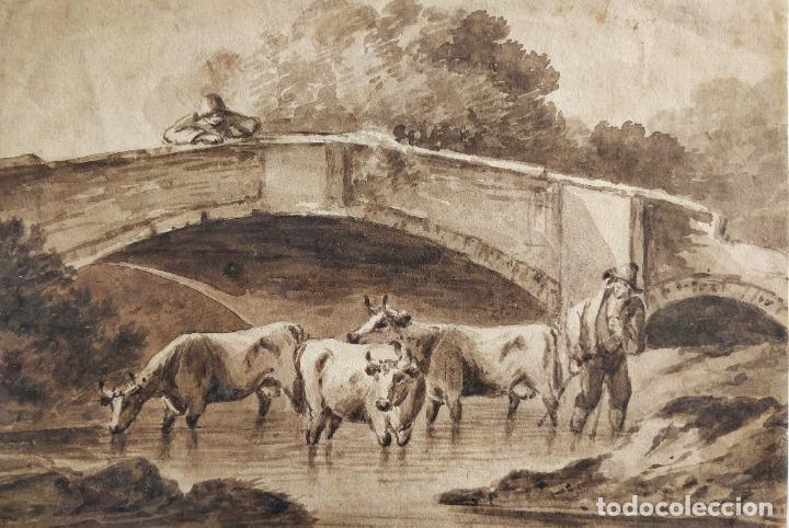 Arte: Magistral paisaje original en acuarela sepia, escuela holandesa siglo XVIII, excelente calidad - Foto 2 - 204221990