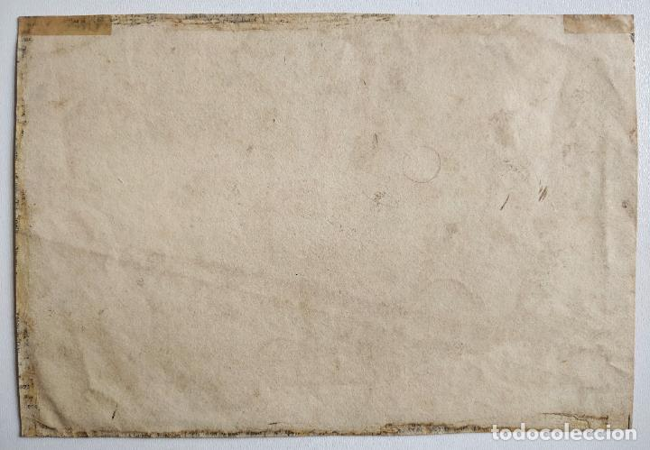 Arte: Magistral paisaje original en acuarela sepia, escuela holandesa siglo XVIII, excelente calidad - Foto 3 - 204221990