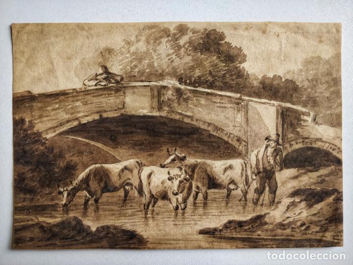 MAGISTRAL PAISAJE ORIGINAL EN ACUARELA SEPIA, ESCUELA HOLANDESA SIGLO XVIII, EXCELENTE CALIDAD (Arte - Pintura - Pintura al Óleo Antigua siglo XVII)