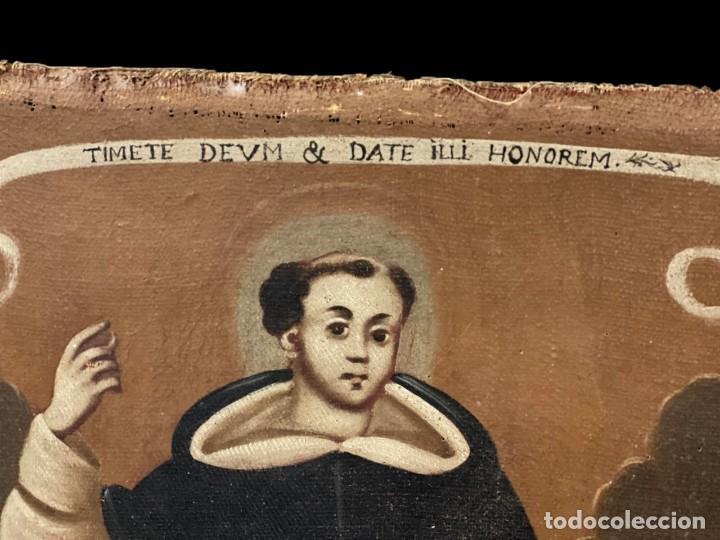 Arte: Antiguo óleo sobre lienzo de San Vicente Ferrer. Siglo XVII. Bastidor original. 87x67 - Foto 2 - 177521038