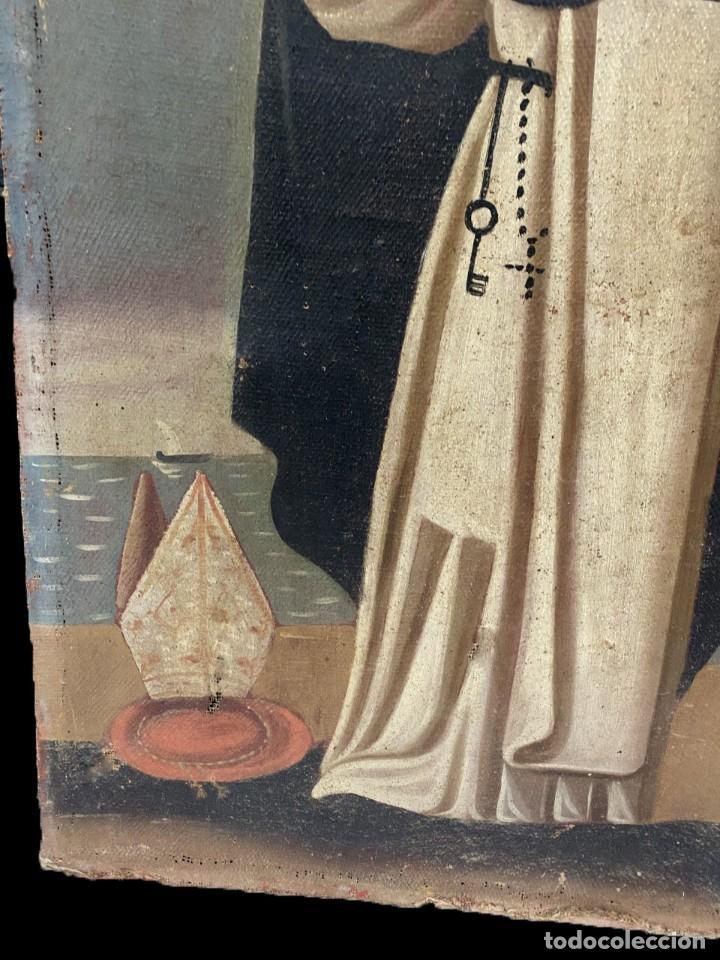 Arte: Antiguo óleo sobre lienzo de San Vicente Ferrer. Siglo XVII. Bastidor original. 87x67 - Foto 3 - 177521038