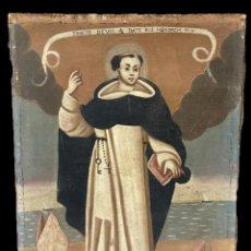 Arte: ANTIGUO ÓLEO SOBRE LIENZO DE SAN VICENTE FERRER. SIGLO XVII. BASTIDOR ORIGINAL. 87X67. Lote 177521038