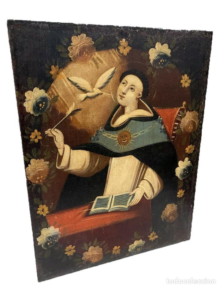 Arte: Soberbio Santo Tomás de Aquino, óleo sobre lienzo. Siglo XVII. 97x73 - Foto 2 - 177521292