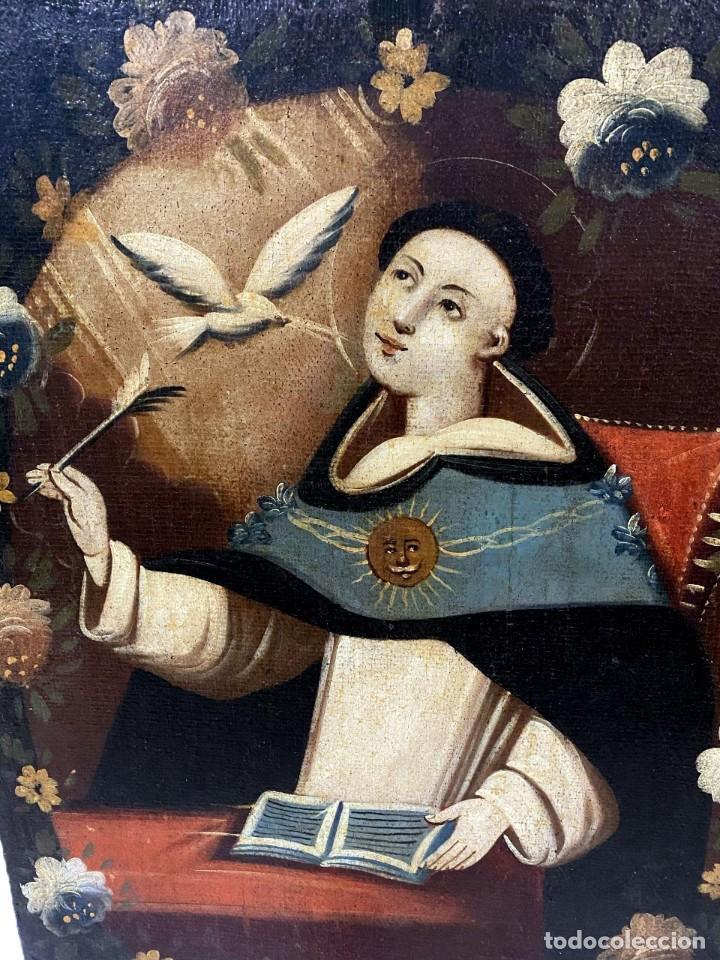Arte: Soberbio Santo Tomás de Aquino, óleo sobre lienzo. Siglo XVII. 97x73 - Foto 3 - 177521292
