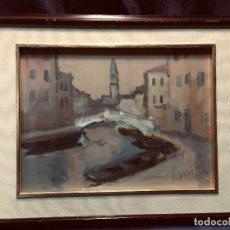 Arte: OLEO SOBRE TABLA CANDIAN ALBERTO VENECIA ITALIA VISTA DE UN CANAL AMANECER 1999 43X53CMS. Lote 204248658
