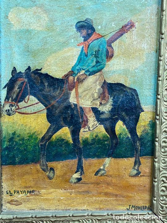 Arte: CUADRO OLEO DEL PINTOR MURCIANO JORGE MONLLOR - el payador- años 40 Murcia - Foto 2 - 204254328