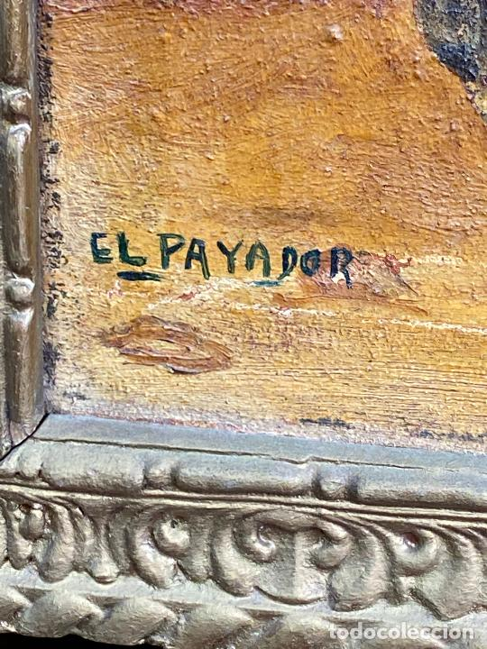 Arte: CUADRO OLEO DEL PINTOR MURCIANO JORGE MONLLOR - el payador- años 40 Murcia - Foto 5 - 204254328