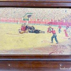 Arte: OLEO DE TEMATICA TAURINA DEDICADO POR EL PINTOR J SAMPER EN 1914 A D. PACO VELASCO MURCIA. Lote 204255160