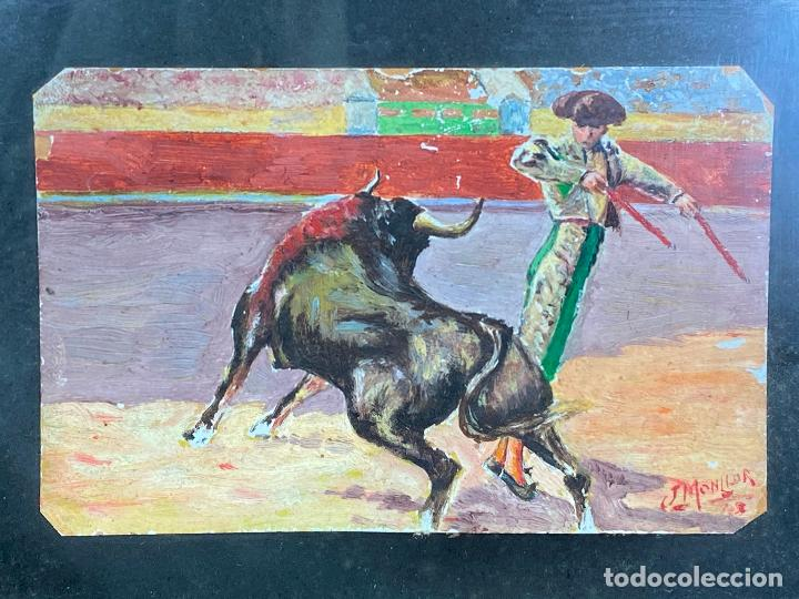 Arte: OLEO TAURINO DEL PINTOR MURCIANO JORGE MONLLOR 1948 o 1943 - Murcia - Foto 3 - 204255276