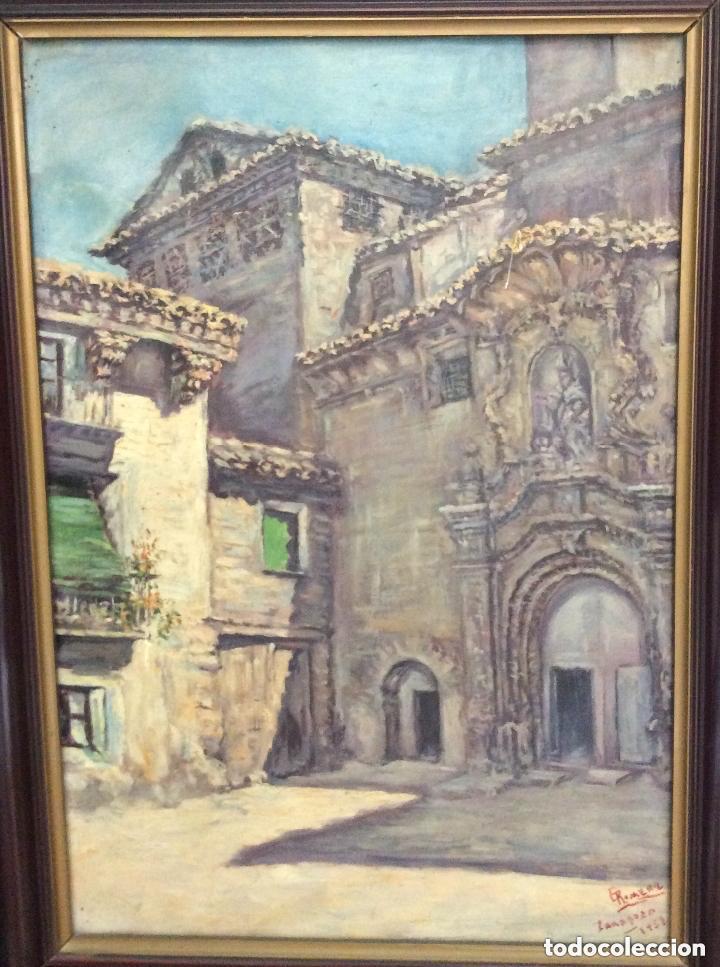 Arte: ZARAGOZA,ÓLEO SOBRE LIENZO REPRESENTANDO FACHADA DE IGLESIA,FIRMADO - Foto 3 - 204278035