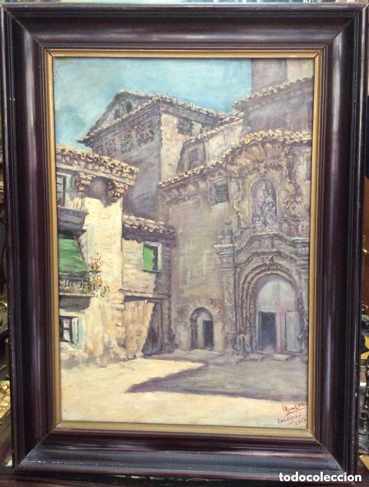 ZARAGOZA,ÓLEO SOBRE LIENZO REPRESENTANDO FACHADA DE IGLESIA,FIRMADO (Arte - Pintura - Pintura al Óleo Moderna siglo XIX)
