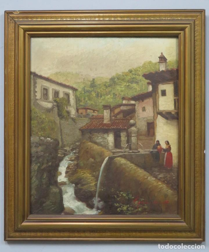 VISTA DE GUISANDO. AVILA. ENRIQUE PEREZ VICENTE (1907-?). OLEO S/ LIENZO (Arte - Pintura - Pintura al Óleo Contemporánea )