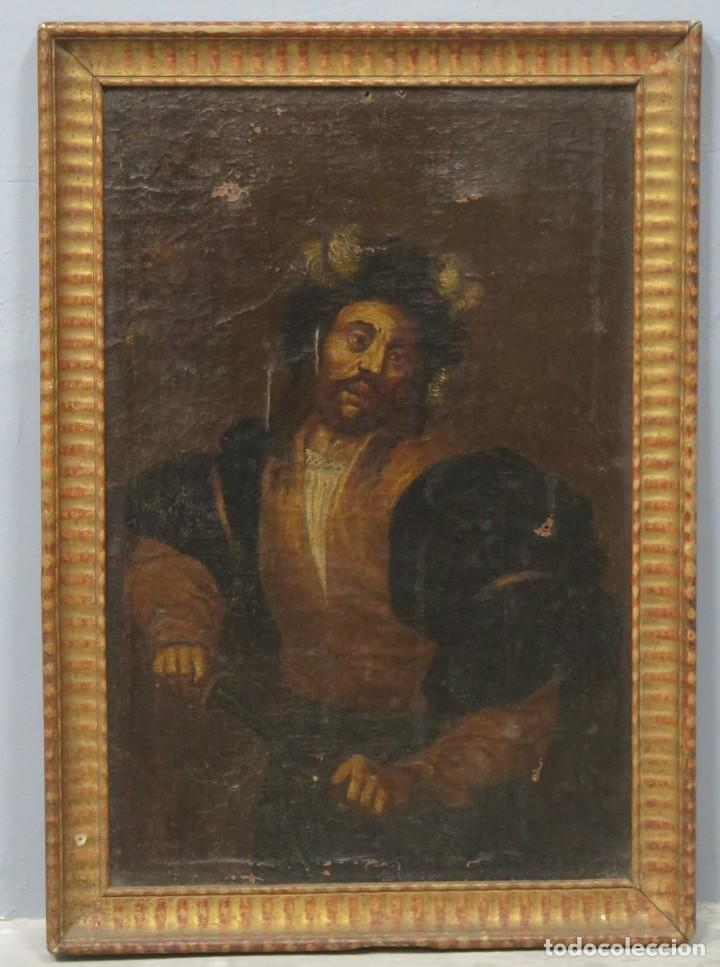 TIPO DESENVAINANDO PUÑAL. OLEO S/ LIENZO. ESCUELA ITALIANA. SIGLO XVII (Arte - Pintura - Pintura al Óleo Antigua siglo XVII)
