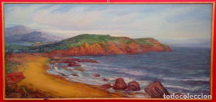 ÓLEO SOBRE LIENZO, ENMARCADO DE RAFAEL SERRANO MUÑOZ. 102X48 CMS. (Arte - Pintura - Pintura al Óleo Contemporánea )
