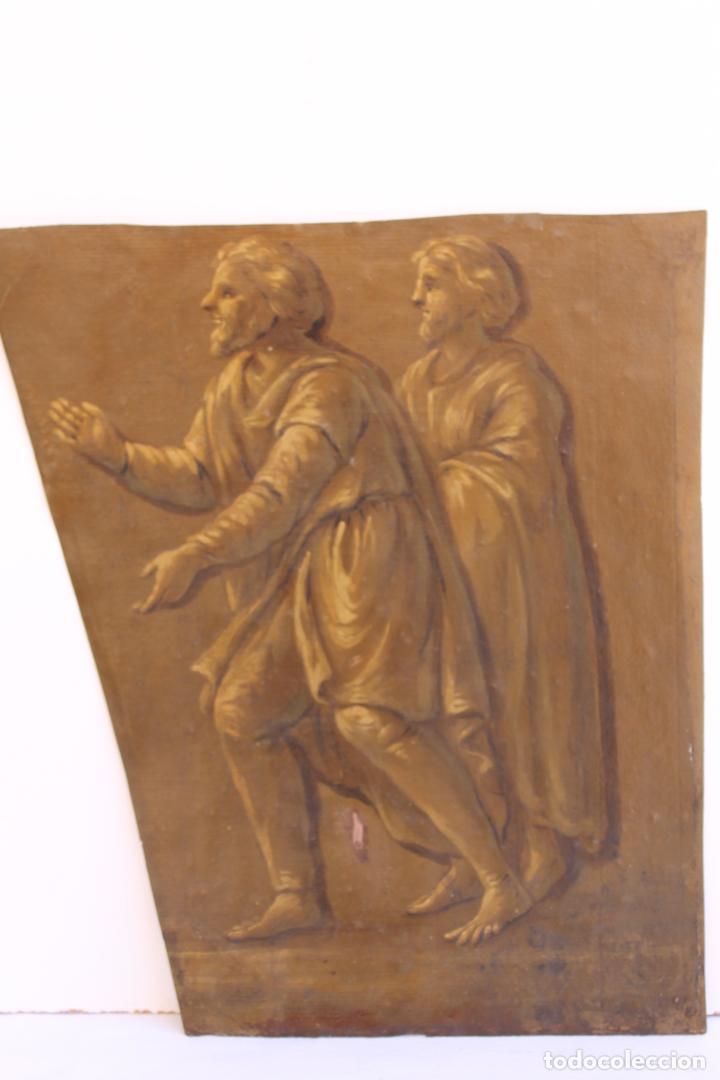 Arte: FRAGMENTO DE PINTURA AL TEMPLE 1 SOBRE PAPEL SIGLOS XIV-XV - Foto 3 - 204542030