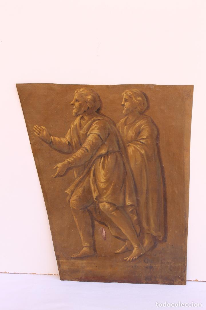 FRAGMENTO DE PINTURA AL TEMPLE 1 SOBRE PAPEL SIGLOS XIV-XV (Arte - Pintura - Pintura al Óleo Antigua siglo XV)