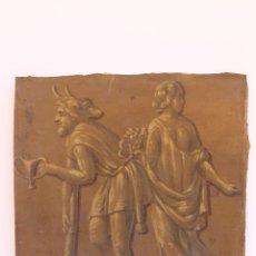 Arte: FRAGMENTO DE PINTURA AL TEMPLE 2 SOBRE PAPEL SIGLOS XIV-XV. Lote 204542893