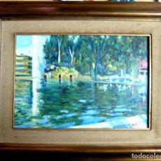 Arte: RAFAEL SOLAZ (VALENCIA, 1950). ESTANQUE DE LOS VIVEROS DE VALENCIA. ÓLEO/TABLA.. Lote 204642897