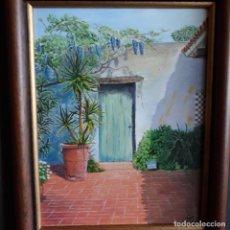 Arte: OLEO ENMARCADO.PATIO SOLEADO.53 X 45 CON MARCO.26X33 EL LIENZO. Lote 204677787