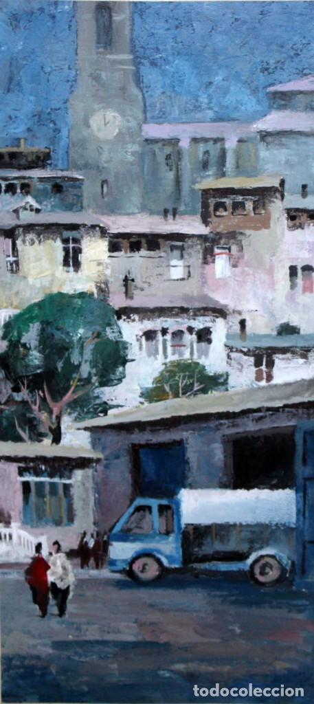 ANONIMO DE LOS AÑOS 60. OLEO SOBRE CARTULINA. VISTA URBANA (Arte - Pintura - Pintura al Óleo Contemporánea )