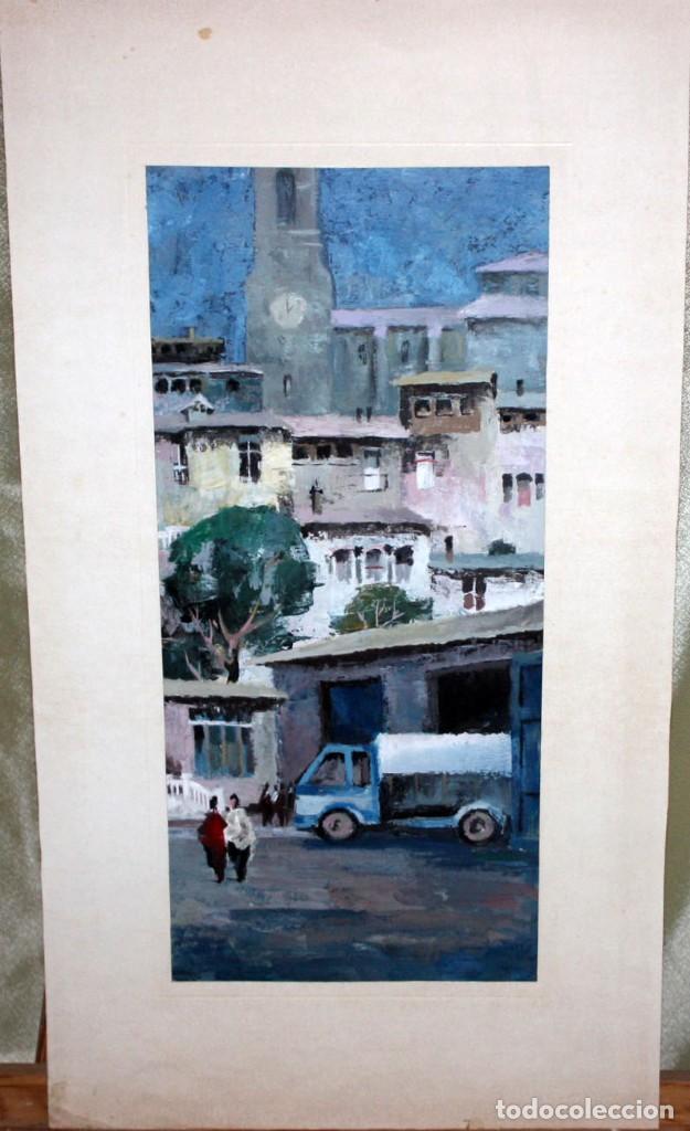Arte: ANONIMO DE LOS AÑOS 60. OLEO SOBRE CARTULINA. VISTA URBANA - Foto 2 - 204737961