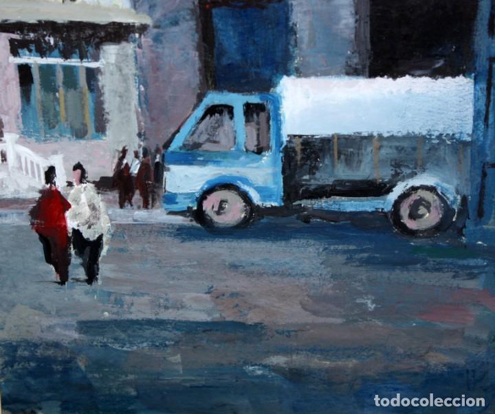 Arte: ANONIMO DE LOS AÑOS 60. OLEO SOBRE CARTULINA. VISTA URBANA - Foto 5 - 204737961