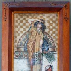 Arte: REBECA EN EL POZO, 1909, PINTURA Y GOUACHE SOBRE LIENZO, FIRMADO ANTONIA, CON MARCO. 86X52CM. Lote 204763581