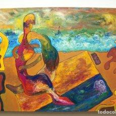 Arte: PINTURA AL OLEO ORIGINAL. AMANTES EN LA PLAYA. Lote 204983702