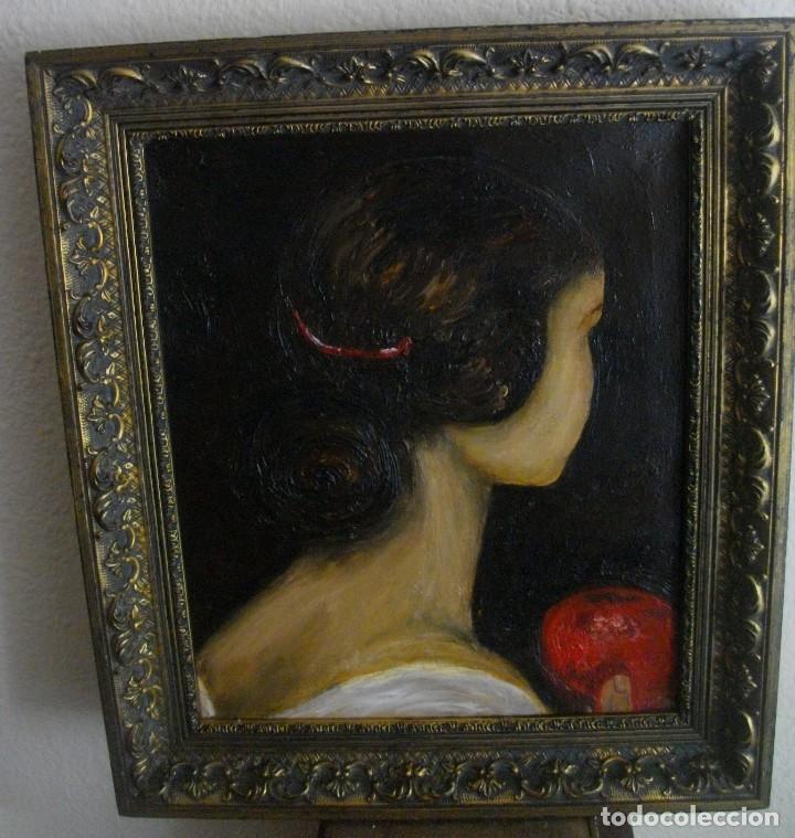 OLEO SOBRE LIENZO 45 X 39 CTMS CON MARCO ( INTERPRETACION OBRA DE JULIO ROMERO) (Arte - Pintura - Pintura al Óleo Moderna sin fecha definida)