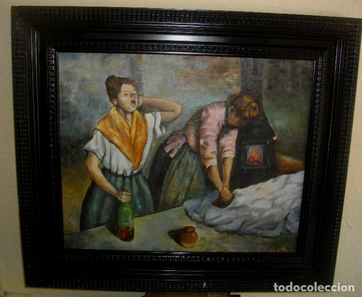 OLEO SOBRE LIENZO FIRMA NUMERADA (( 60 X 53 CTMS)) INTERPRETACIO OBRA DE EDGAR DEGAS (Arte - Pintura - Pintura al Óleo Moderna sin fecha definida)
