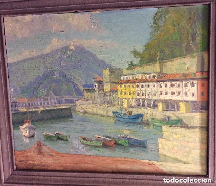 Arte: FELIPE EMPERADOR -Puerto de San Sebastián,óleo sobre lienzo ,firmado 100X83cm - Foto 2 - 205193206