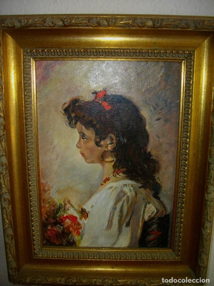 OLEO SOBRE LIENZO FIRMADO M. R. ( 46 X 35 CTMS CON MARCO ) INTERPRETACION INPRESIONISTA (Arte - Pintura - Pintura al Óleo Moderna sin fecha definida)