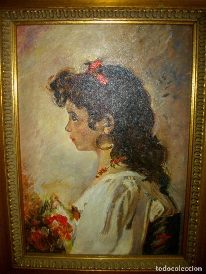 Arte: oleo sobre lienzo firmado M. R. ( 46 x 35 ctms con marco ) interpretacion inpresionista - Foto 2 - 205245422