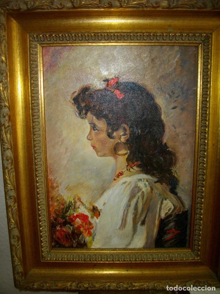 Arte: oleo sobre lienzo firmado M. R. ( 46 x 35 ctms con marco ) interpretacion inpresionista - Foto 3 - 205245422