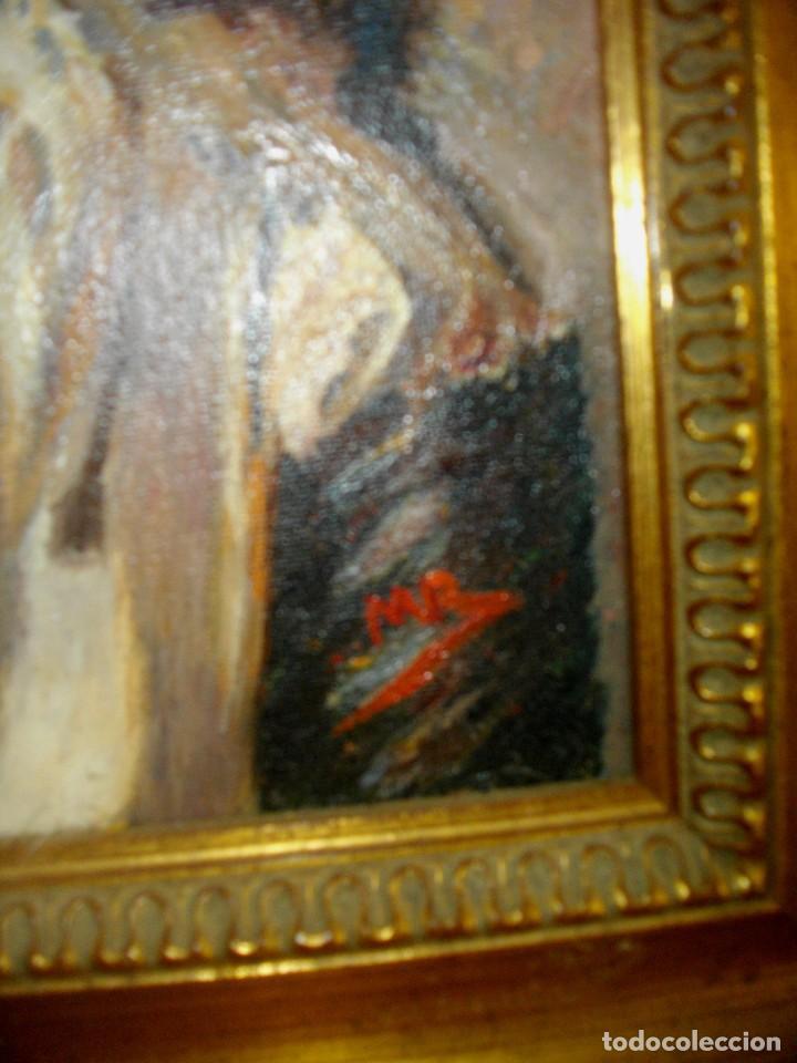 Arte: oleo sobre lienzo firmado M. R. ( 46 x 35 ctms con marco ) interpretacion inpresionista - Foto 4 - 205245422