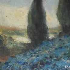 Arte: PAISAJE. ÓLEO SOBRE TABLA. ANTONIO RODRÍGUEZ MOREY CUBA 1874-1967. FIRMADO Y FECHADO MADRID 1920.. Lote 205249850