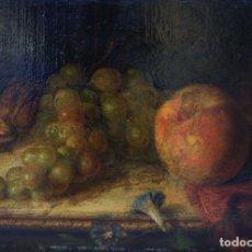 Arte: BODEGÓN DE FRUTAS, SIGLO XIX, PINTURA AL ÓLEO SOBRE MADERA, 1876, FIRMADO PLA. 23,5X16CM. Lote 205251073