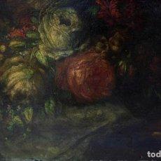 Arte: BODEGÓN DE FLORES, SIGLO XIX, PINTURA AL ÓLEO SOBRE MADERA, 1880, FIRMADO PLA. 25,5X17,5CM. Lote 205251437