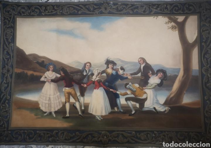 Arte: La gallina ciega copia de Francisco de Goya, antiguo tapiz 135x90cm - Foto 2 - 205265415