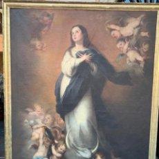 Arte: GRAN ÓLEO SOBRE LIENZO DE INMACULADA- SEGUIDOR DE MURILLO - S XIX- EN PERFECTO ESTADO-220 X 170 CM. Lote 205271905