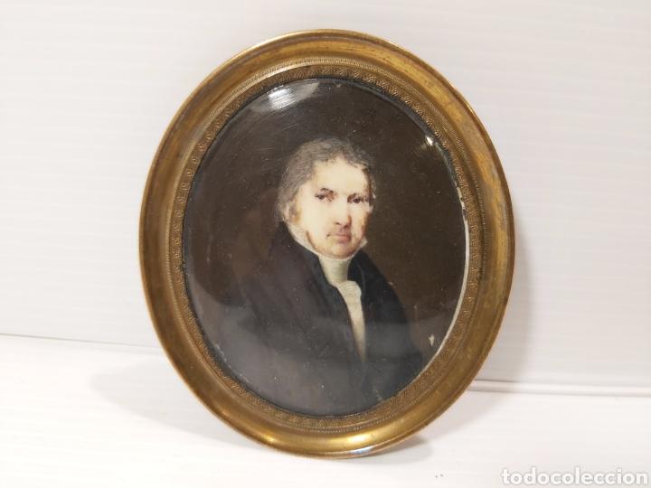 ANTIGUO RETRATO MINIATURA FRANCÉS SOBRE MARFIL (Arte - Pintura - Pintura al Óleo Antigua siglo XVIII)