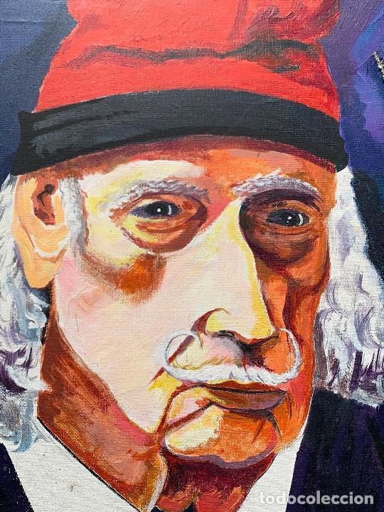 Arte: Extraordinario retrato de SALVADOR DALÍ, de Joan Gelabert (Dalí Junior), oleo sobre lienzo.Original. - Foto 2 - 205371120