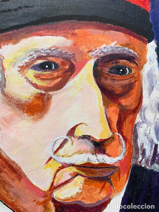 Arte: Extraordinario retrato de SALVADOR DALÍ, de Joan Gelabert (Dalí Junior), oleo sobre lienzo.Original. - Foto 7 - 205371120
