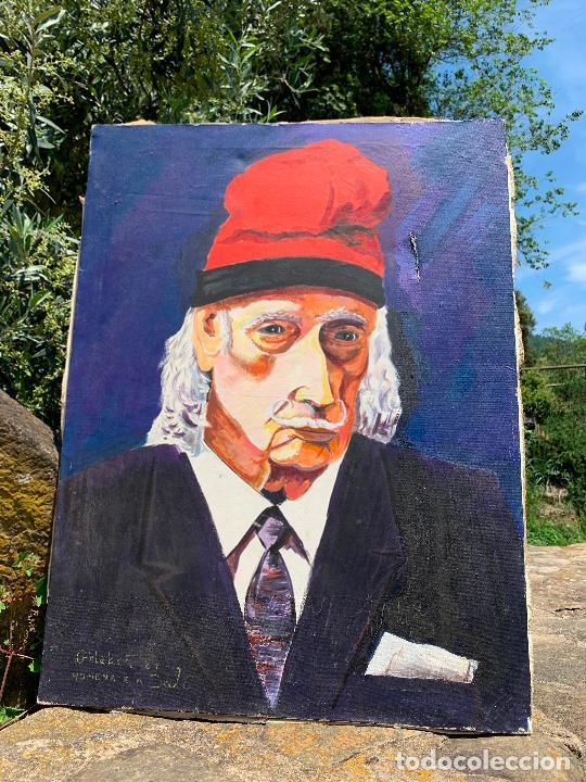 Arte: Extraordinario retrato de SALVADOR DALÍ, de Joan Gelabert (Dalí Junior), oleo sobre lienzo.Original. - Foto 8 - 205371120