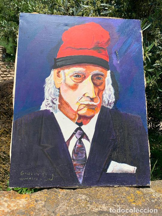 Arte: Extraordinario retrato de SALVADOR DALÍ, de Joan Gelabert (Dalí Junior), oleo sobre lienzo.Original. - Foto 9 - 205371120