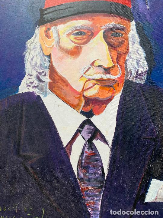 Arte: Extraordinario retrato de SALVADOR DALÍ, de Joan Gelabert (Dalí Junior), oleo sobre lienzo.Original. - Foto 10 - 205371120