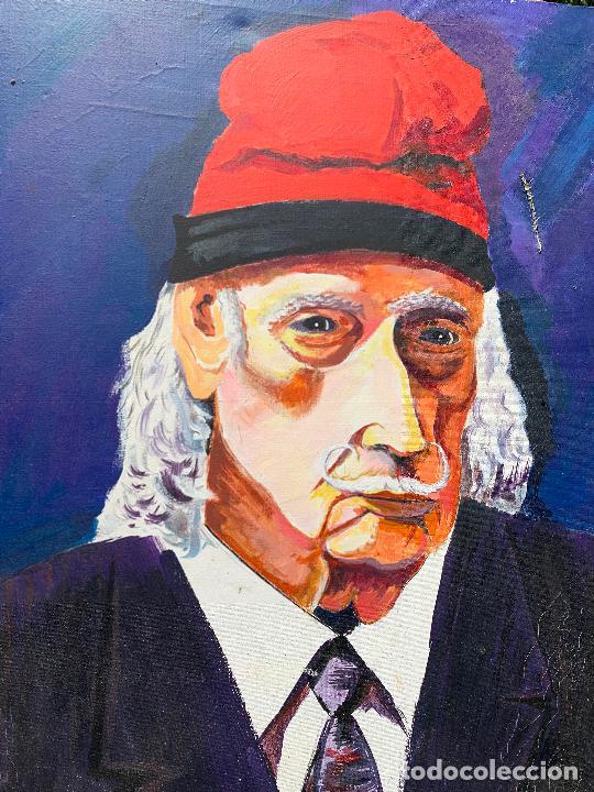 Arte: Extraordinario retrato de SALVADOR DALÍ, de Joan Gelabert (Dalí Junior), oleo sobre lienzo.Original. - Foto 12 - 205371120