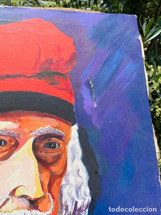Arte: Extraordinario retrato de SALVADOR DALÍ, de Joan Gelabert (Dalí Junior), oleo sobre lienzo.Original. - Foto 13 - 205371120